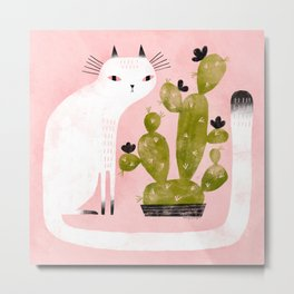 CAT & CACTUS Metal Print