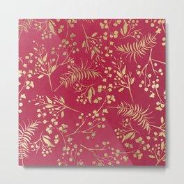 Modern magenta pink faux gold tropical floral Metal Print