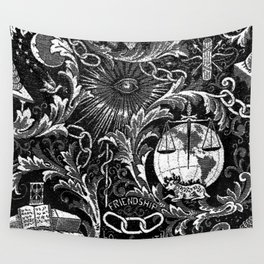Black and White Woven IOOF Symbolism Tapestry Wall Tapestry