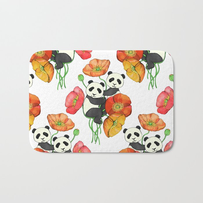 Poppies & Pandas Bath Mat
