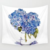 hydrangea Wall Tapestries featuring Hydrangea painting by KarenHarveyCox