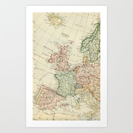 Old Map of the West of Europe Art Print