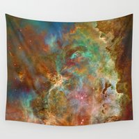 astronomy Wall Tapestries featuring Mystic Mountains - Carina Nebula Astronomy Image by Highton Ridley