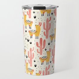 Yellow Llamas Red Cacti Travel Mug