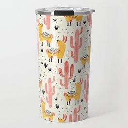 Yellow Llamas Red Cacti Travel Mug