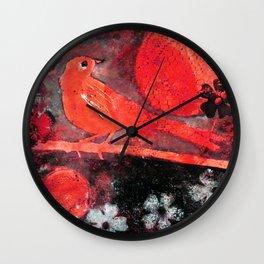Red Moon Bird Wall Clock