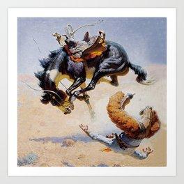 """Bucking Horse"" Western Vintage Art Art Print"