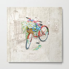 Vintage Red Bicycle with Flowers City Background Metal Print