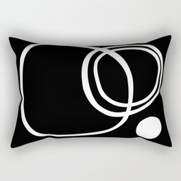 Black and White Circles Abstract Modern Rectangular Pillow
