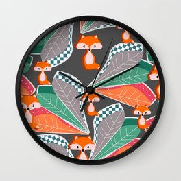 Summer fun with foxes and leaves Wall Clock