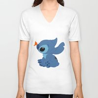 lilo and stitch V-neck T-shirts featuring Stitch by Alexbookpages