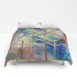 Elves Window - Pastel Marble Geometry Comforters