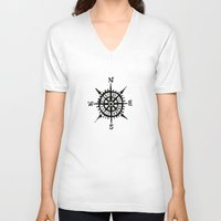 compass V-neck T-shirts featuring COMPASS by MrWhite