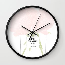 minimal no. 5 perfume with pink roses Wall Clock
