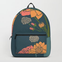 Bouquet of Flowers on Blue Backpack