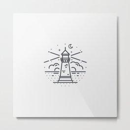 Lighthouse illuminating the road Metal Print