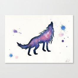 Purple Pink Nebula Wolf Canvas Print