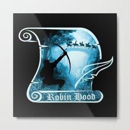 Robin Hood - Scroll - Blue Metal Print