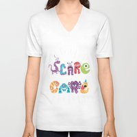 risa rodil V-neck T-shirts featuring We Scare Because We Care by Risa Rodil