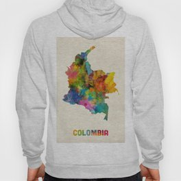 Colombia Watercolor Map Hoody