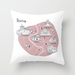 Mapping Roma - Pink Throw Pillow