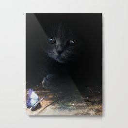 Cat looking at a blue butterfly by GEN Z Metal Print