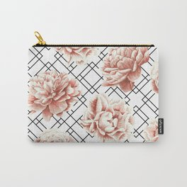 Rose Garden Vintage Rose Pink Cream White Mod Diamond Lattice Carry-All Pouch