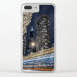 Chicago Skyline as Tron Bikes Zip Past Clear iPhone Case
