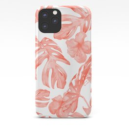 Tropical Hibiscus and Palm Leaves Dark Coral White iPhone Case