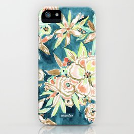 RUCKUS Navy Peach Watercolor Floral iPhone Case