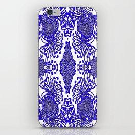Vintage Blue-Purple  White Floral Spider Mums Art iPhone Skin