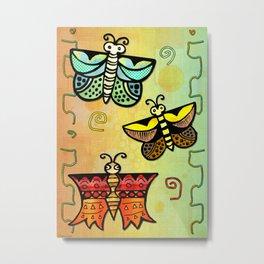 Zuni Butterfly Folk Art Metal Print