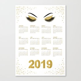 Lashes  with gold glitter 2019 calendar illustration Canvas Print