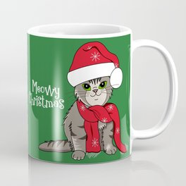 Cat Lover's Meowy Christmas Santa Cat With Green Background Coffee Mug