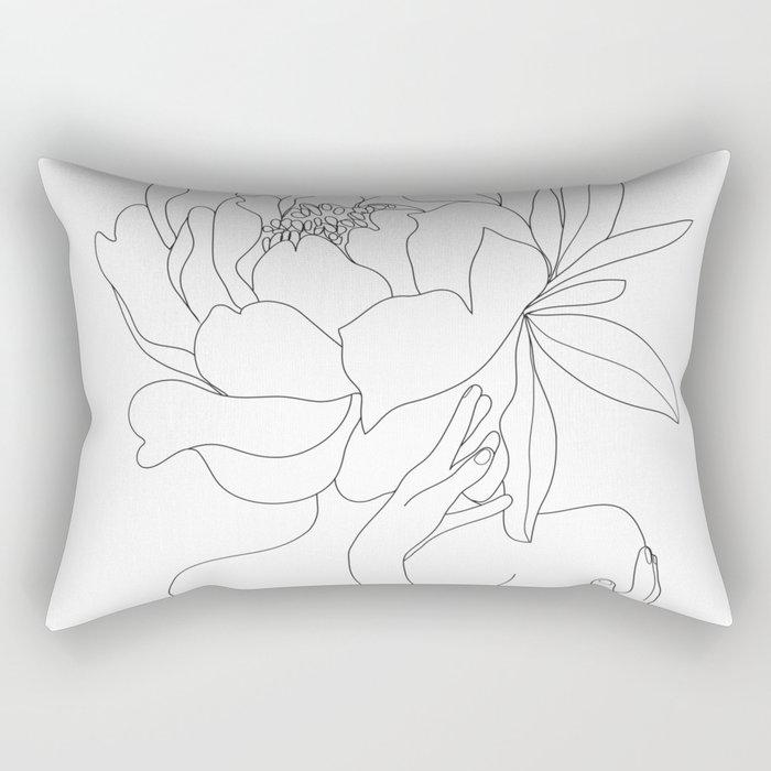 Minimal Line Art Woman Flower Head Rectangular Pillow