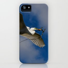 Egret In Flight With Branch iPhone Case