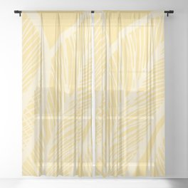 Golden Yellow Banana Leaves Sheer Curtain