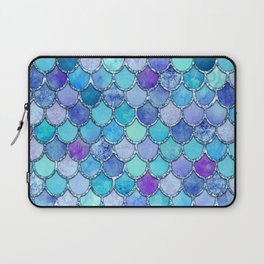 Colorful Blues Mermaid Scales Laptop Sleeve