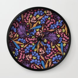 Neon Tropical Jungle Leaves, Starfish and Snails Wall Clock