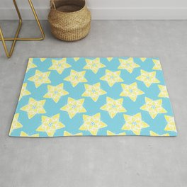 Star Flower Pattern Teal and Yellow Rug