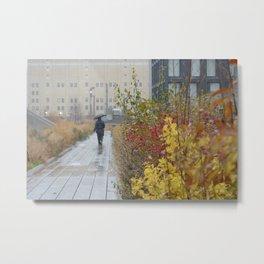 Walking in the rain in New York Metal Print
