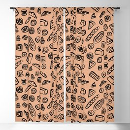 Bread Bakery Cake Brown Background Pattern Blackout Curtain