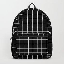 Black Grid White Lines| Black Aesthetic Backpack