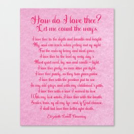 How Do I Love Thee Poem  - Pink Parchment Style Canvas Print