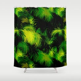 Tropical,feather like green leaf pattern Shower Curtain