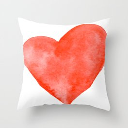 Red Watercolor Heart Throw Pillow