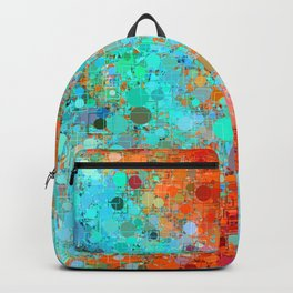 psychedelic geometric circle pattern and square pattern abstract in orange and blue Backpack