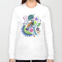 botanical Long Sleeve T-shirts featuring Bird Botanical by Janna Morton