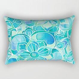Aqua & Emerald - blue, turquoise & mint green floral design Rectangular Pillow