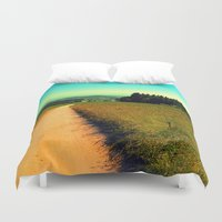 hiking Duvet Covers featuring Hiking on a hot afternoon by Patrick Jobst